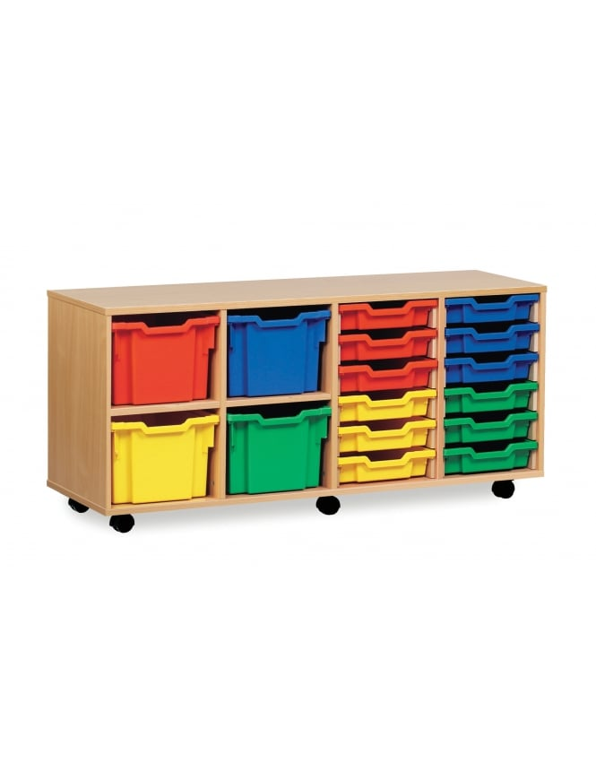 Monarch Furniture 12 Shallow and 4 Extra Deep Combi Tray Storage Unit
