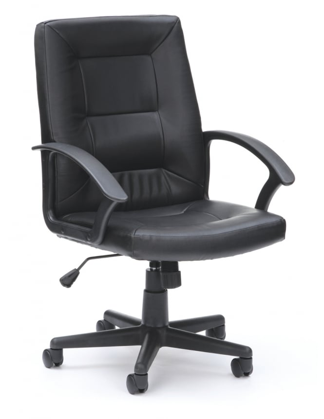 Woodstock Leabank Amber Executive Leather High Back Chair - Black