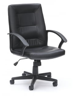 Amber Executive Leather High Back Chair - Black