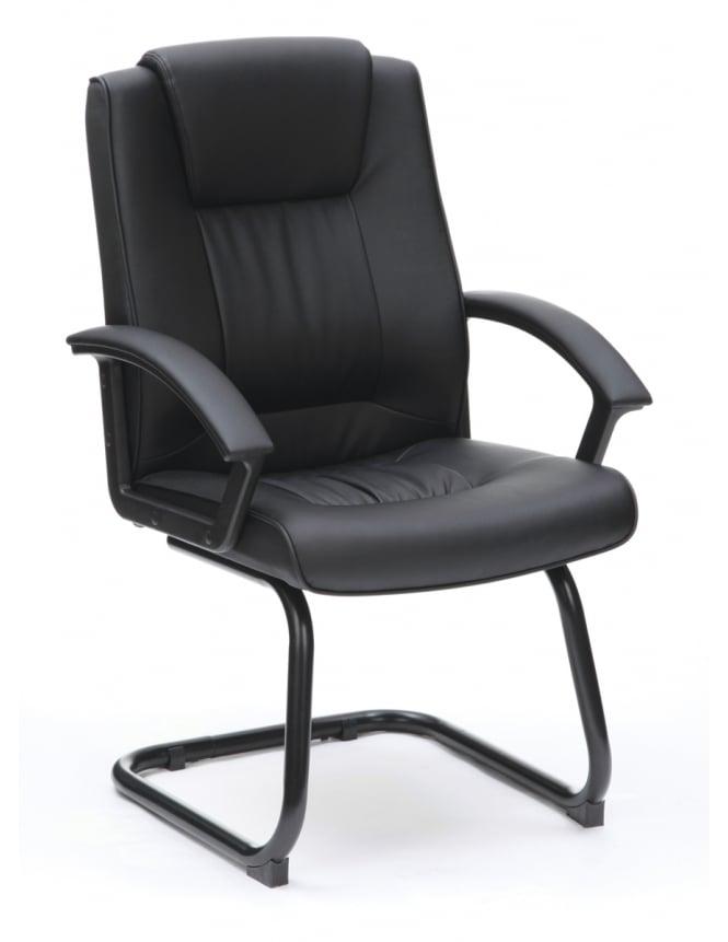 Woodstock Leabank Amber Leather Medium Back Visitor Chair - Black