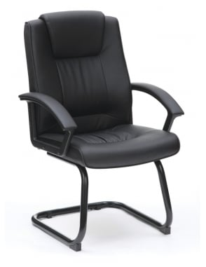 Amber Leather Medium Back Visitor Chair - Black