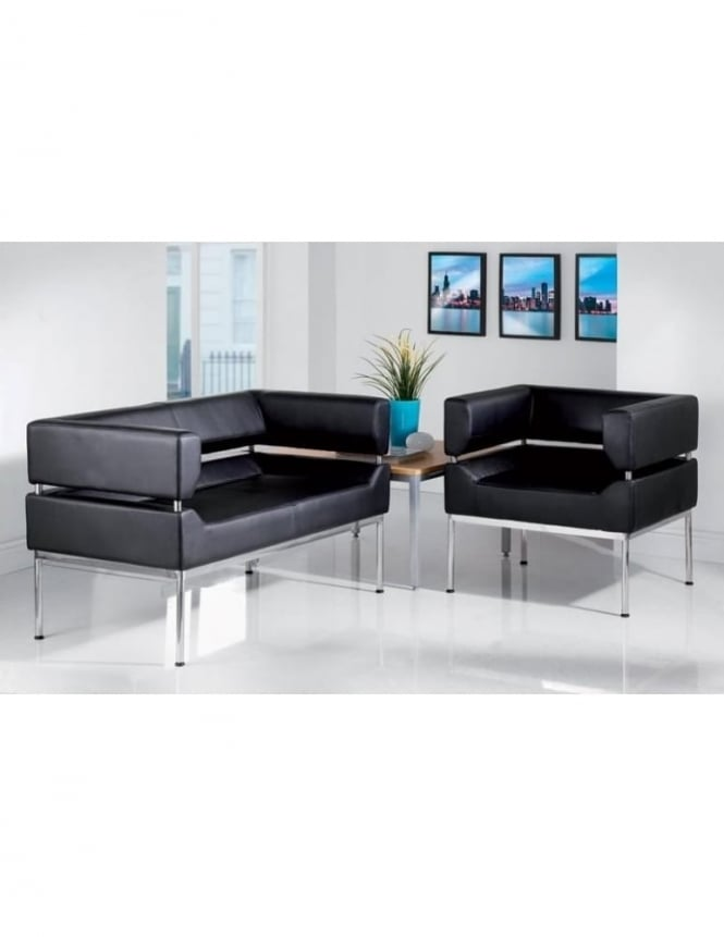 Benotto Faux Leather Reception Set 2 Seater Sofa and Tub Seat