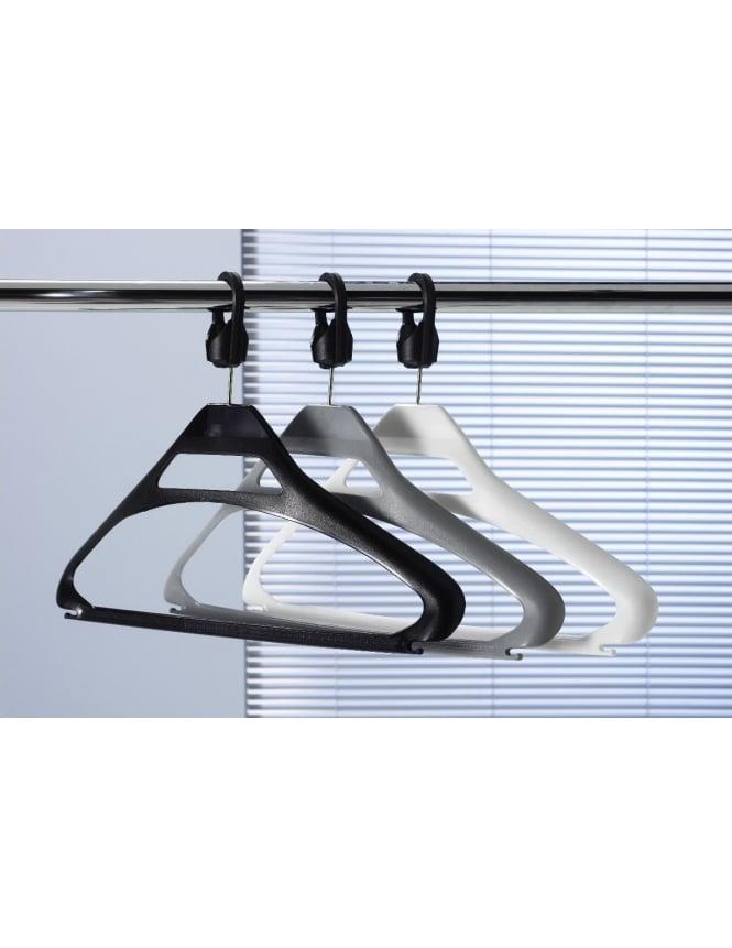 Black Plastic Anti-theft Hangers + SCB Collar - 100 Pack