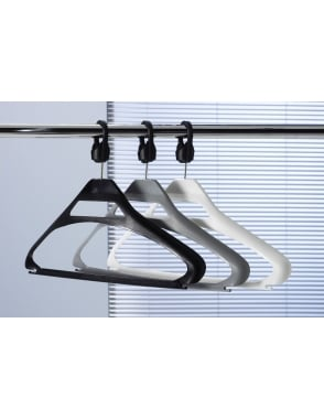 Black Plastic Anti-theft Hangers + SCB Collar - 100 Pack