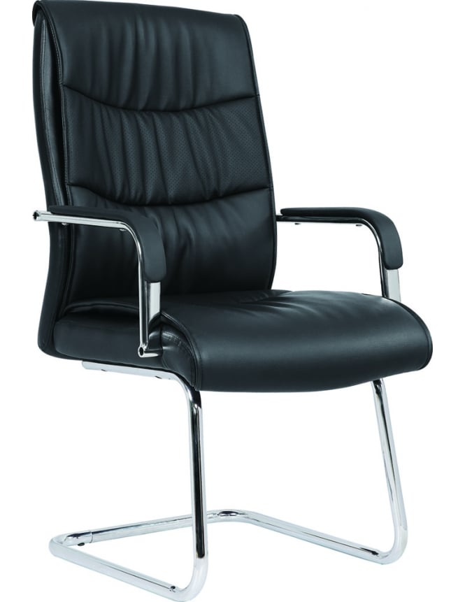 Dynamic Furniture Carter Black Luxury Faux Leather Cantilever Chair
