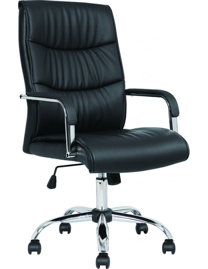 Dynamic Furniture Carter Black Luxury Faux Leather Chair