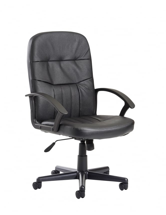 Dams Cavalier High Back Managers Chair - Black Leather Faced