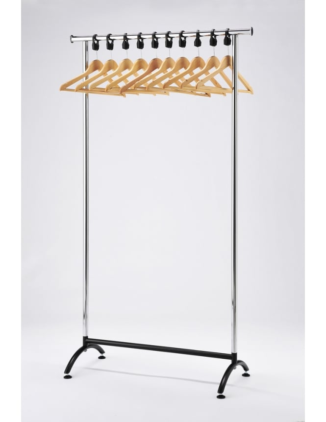 Commercial Hangers Chrome Coat Stand with Wooden Hangers