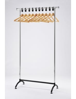Chrome Coat Stand with Wooden Hangers