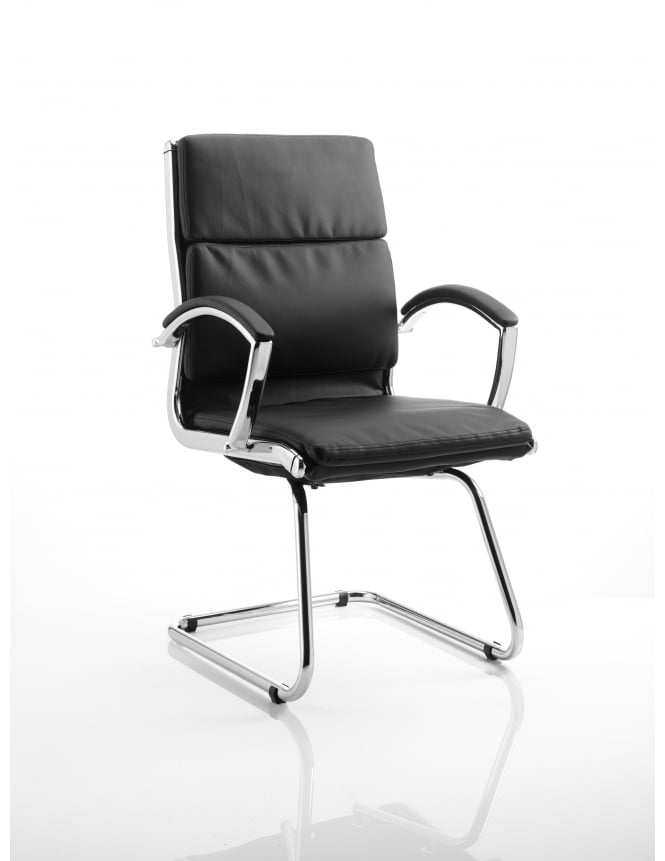 Dynamic Furniture Classic Visitor Cantilever Black Leather Chair