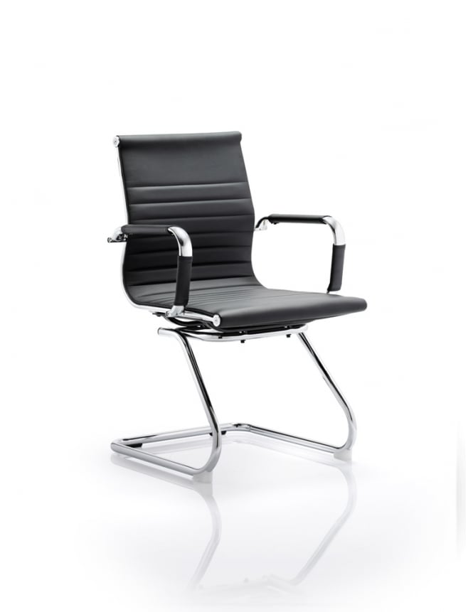 Dynamic Furniture Cross Cantilever Executive Black Faux Leather Chair