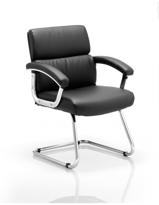 Dynamic Furniture Desire Visitor Cantilever Black Leather Chair