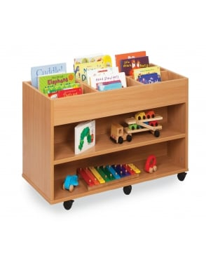 Double Sided 6 Bay Kinderbox with 1 Fixed Shelf Each Side