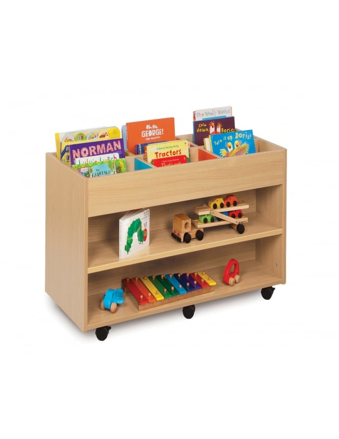 Monarch Furniture Double Sided 6 Bay Kinderbox with 1 Fixed Shelf Each Side