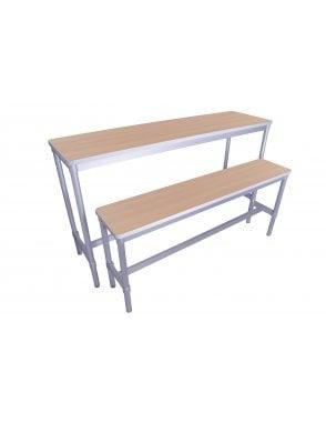 Enviro Silver Frame 710mm High Dining Bench 1600 x 330mm