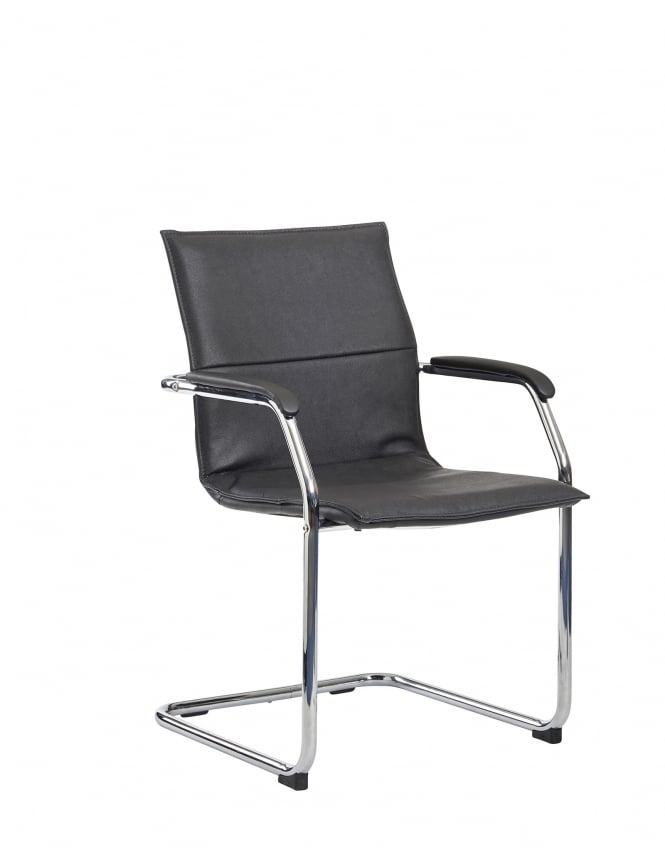 Dams Essen Meeting Room Cantilever Chair - Black Faux Leather