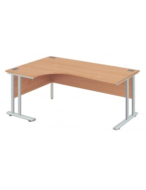 Fraction 2 Left Hand Core Desk with Silver Frame