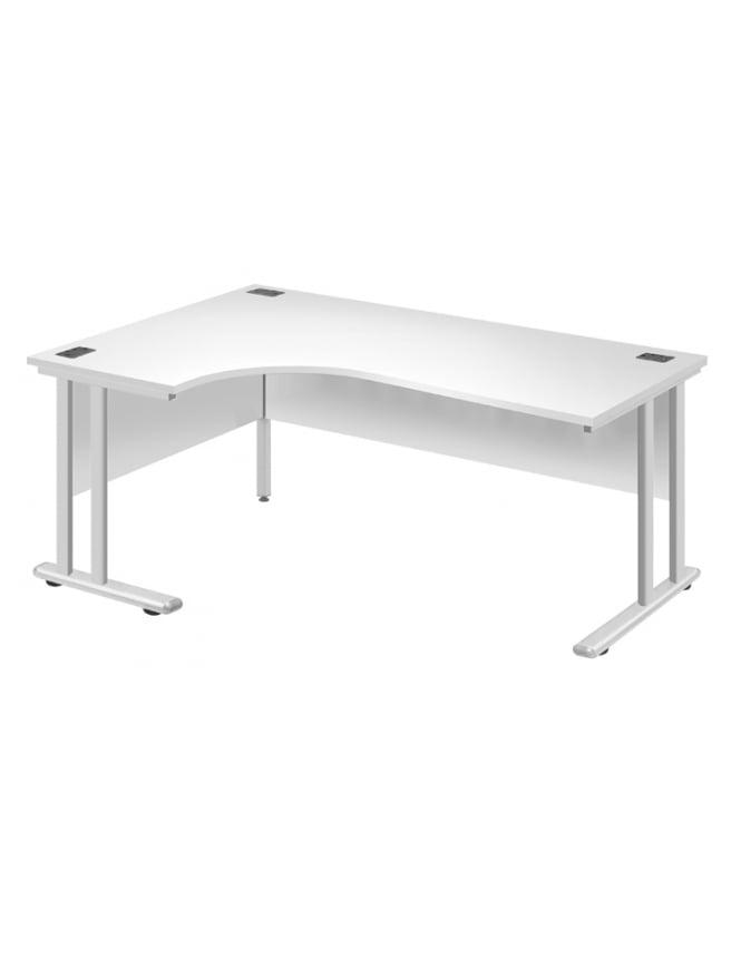 Woodstock Leabank Fraction 2 Left Hand Core Desk with White Frame