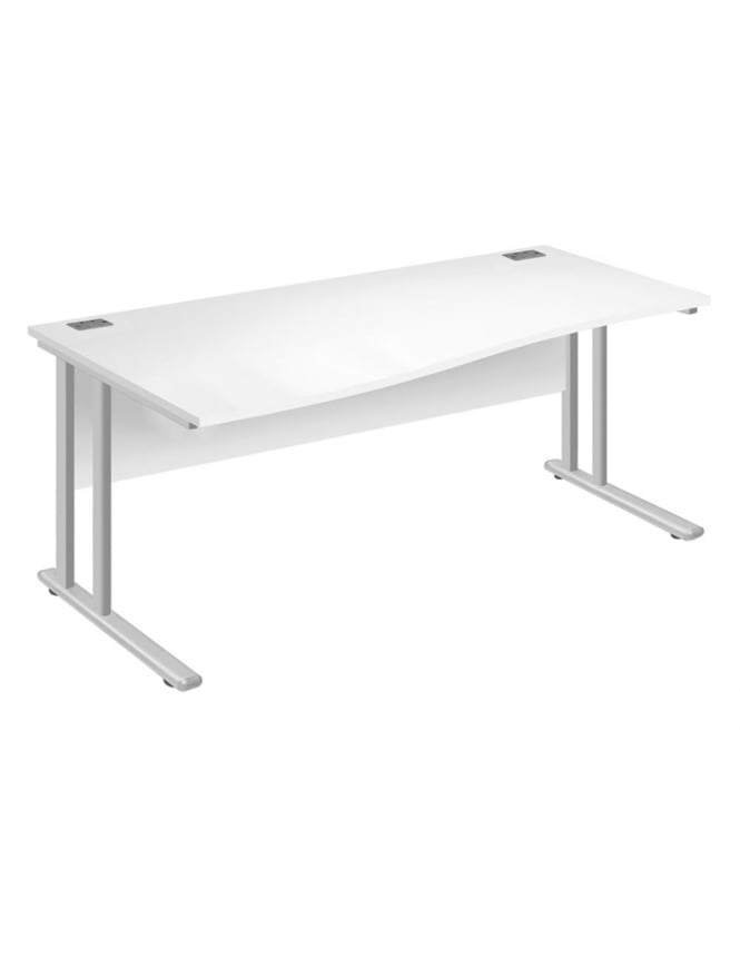 Woodstock Leabank Fraction 2 Left Hand Wave Desk - White with White Frame