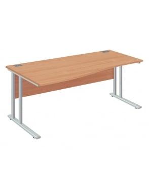 Fraction 2 Left Hand Wave Desk with Silver Frame