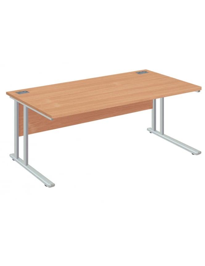 Woodstock Leabank Fraction 2 Rectangular Desk with Silver Frame