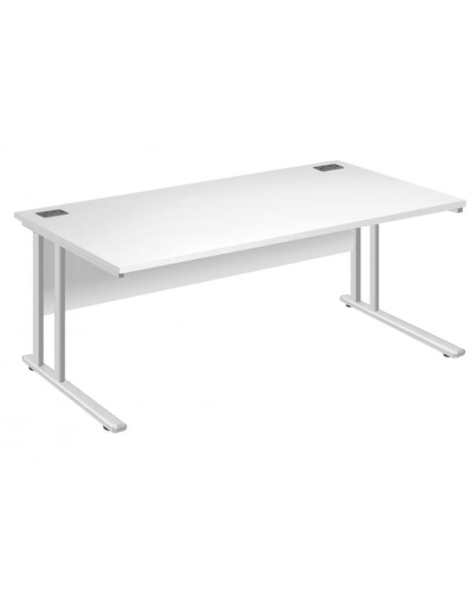 Woodstock Leabank Fraction 2 Rectangular Desk with White Frame