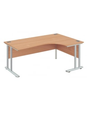 Fraction 2 Right Hand Core Desk with Silver Frame