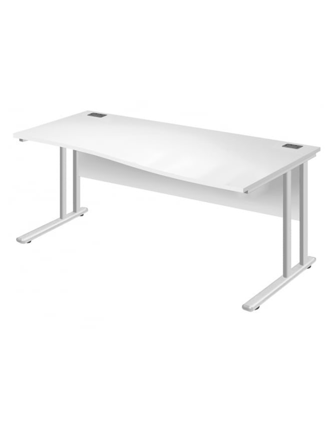 Woodstock Leabank Fraction 2 Right Hand Wave Desk - White with White Frame