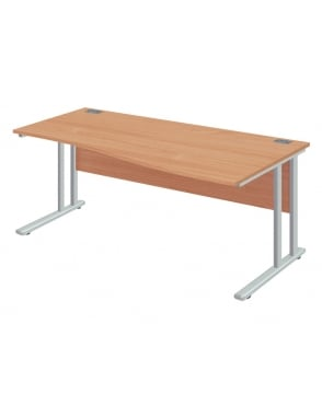 Fraction 2 Right Hand Wave Desk with Silver Frame