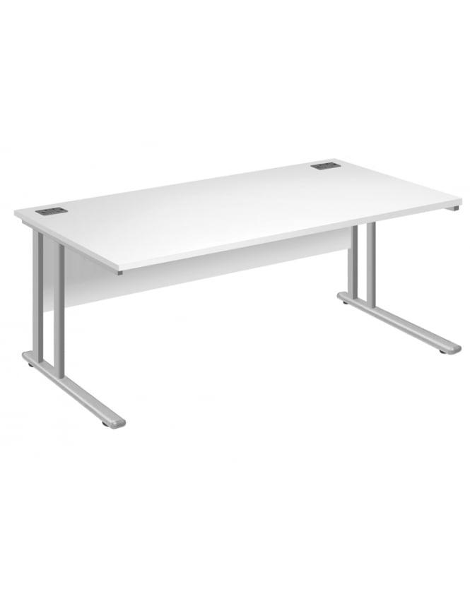 Woodstock Leabank Fraction 2 Square Desk - White with White Frame