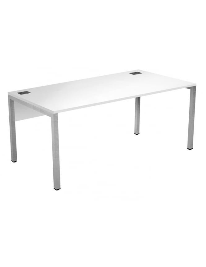 Woodstock Leabank Fraction 3 Rectangular Desk with White Frame