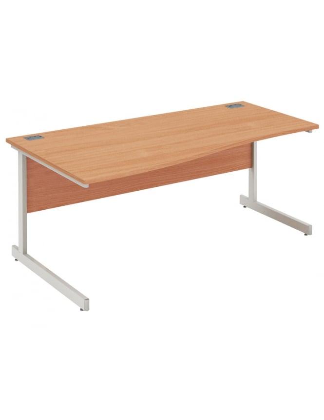 Woodstock Leabank Fraction Plus Left Hand Wave Desk with Silver Frame
