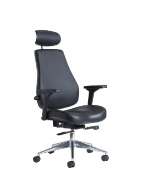 Franklin High Back 24 Hour Task Chair - Black Faux Leather