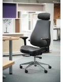 Dams Franklin High Back 24 Hour Task Chair - Black Faux Leather