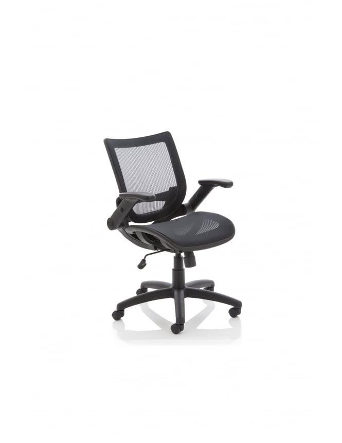 Dynamic Furniture Fuller Task Operator Folding Arms Mesh Chair
