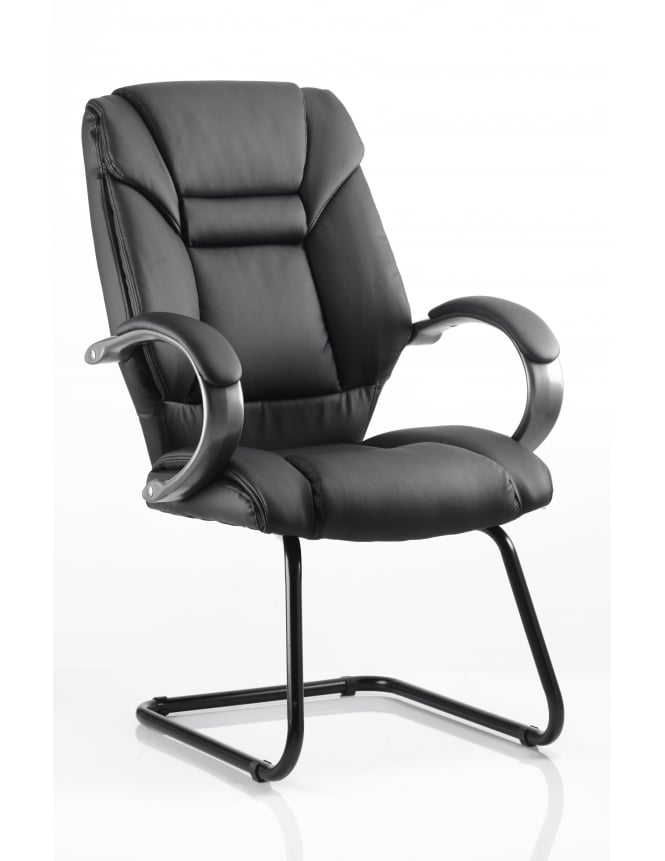 Dynamic Furniture Galloway Visitor Cantilever Black Leather Chair