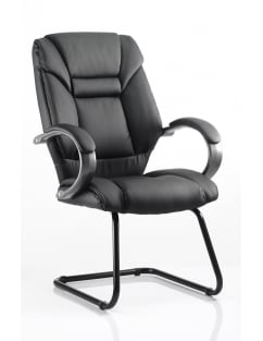 Galloway Visitor Cantilever Black Leather Chair