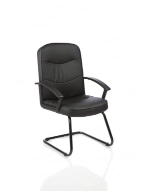 Harley Visitor Cantilever Black Leather Chair