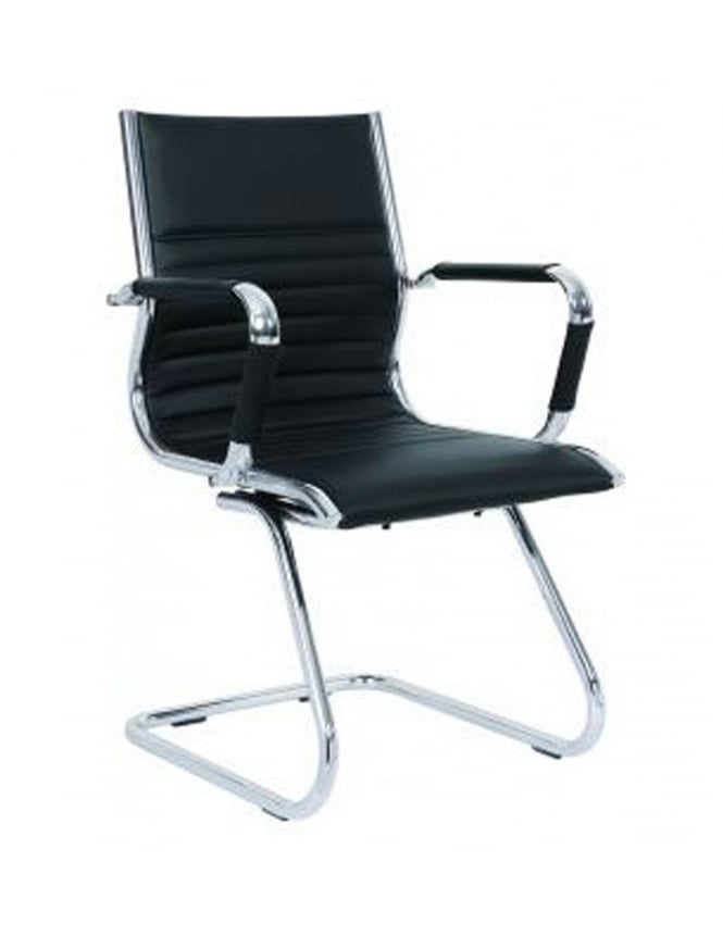 Dynamic Furniture Heiro Cantilever Black Faux Leather Designer Chair