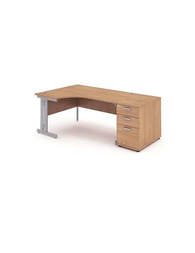 Dynamic Furniture Impulse 1600 Left Hand Wire Managed Workstation 800 Pedestal Bundle