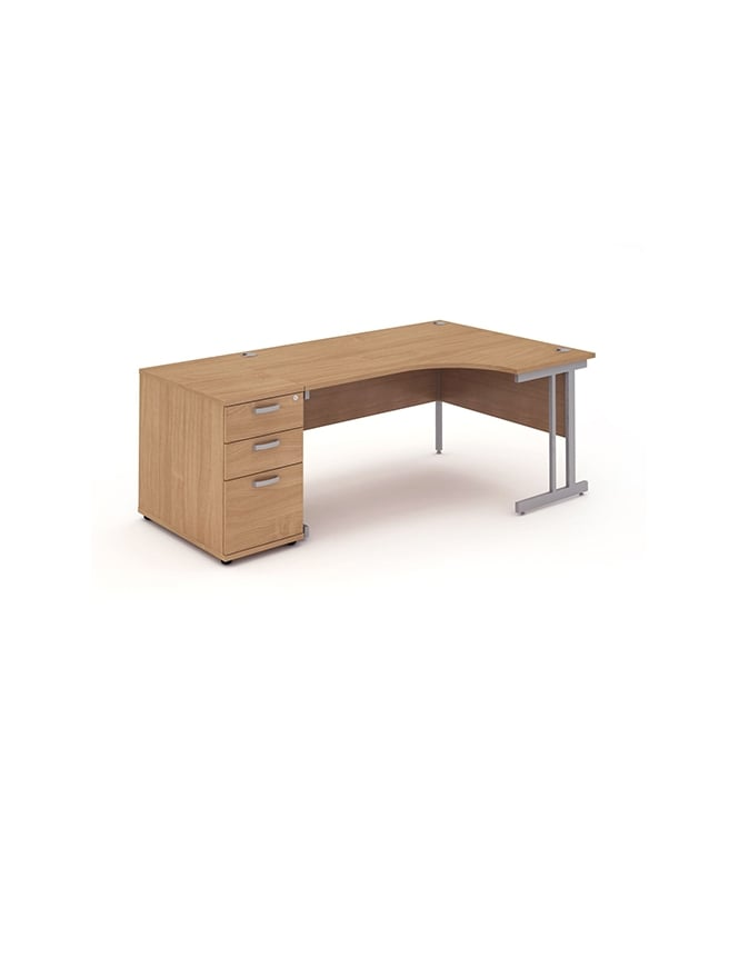 Dynamic Furniture Impulse 1600 Right Hand Cantilever Workstation 800 Pedestal Bundle