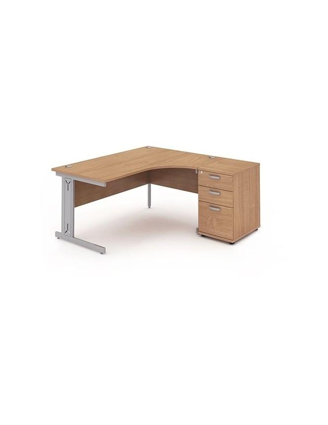 Dynamic Furniture Impulse 1600 Right Hand Wire Managed Workstation 600 Pedestal Bundle