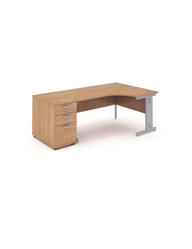 Dynamic Furniture Impulse 1600 Right Hand Wire Managed Workstation 800 Pedestal Bundle