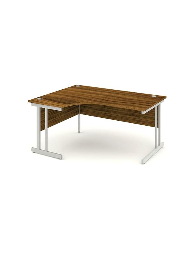 Dynamic Furniture Impulse Cantilever Left Hand Crescent Desk Walnut