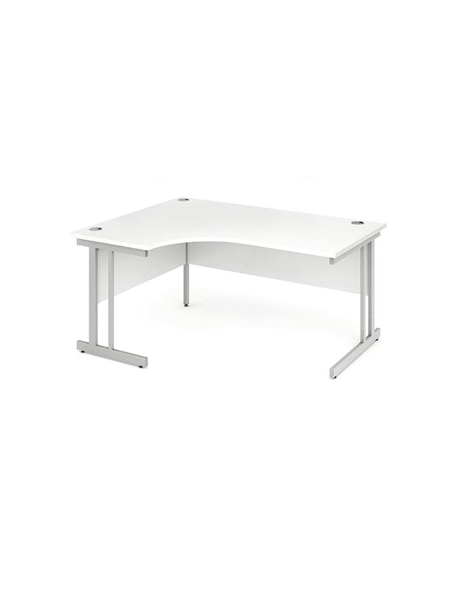Dynamic Furniture Impulse Cantilever Left Hand Crescent Desk White