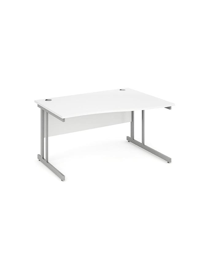 Dynamic Furniture Impulse Cantilever Right Hand Wave Desk White