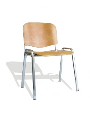 ISO Beech Chrome Frame Stacking Chair