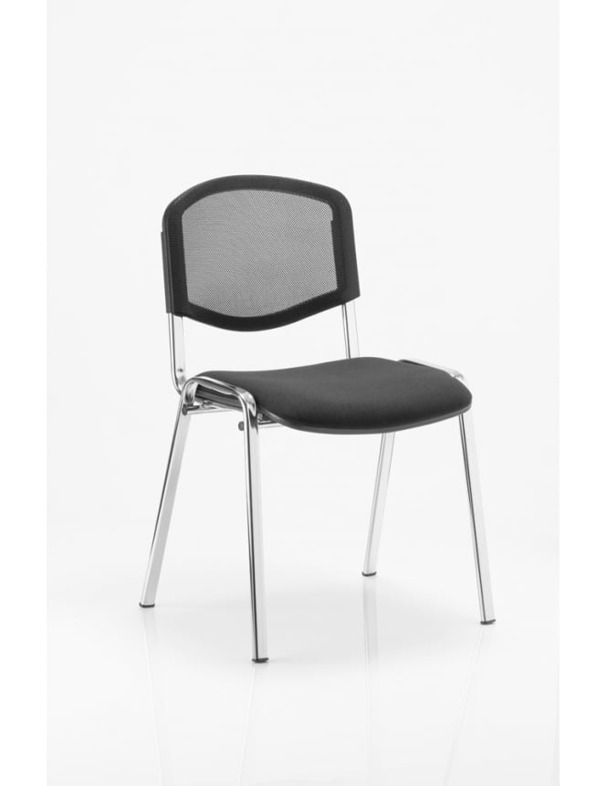 Dynamic Furniture ISO Black Mesh Chrome Frame Stacking Chair