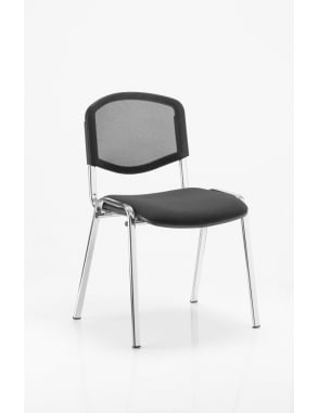 ISO Black Mesh Chrome Frame Stacking Chair