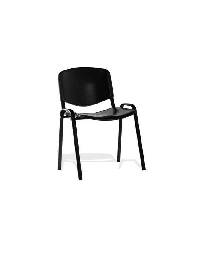 Dynamic Furniture ISO Stacking Black Poly Black Frame Chair